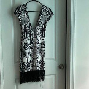 Black Aztec dress with tassels